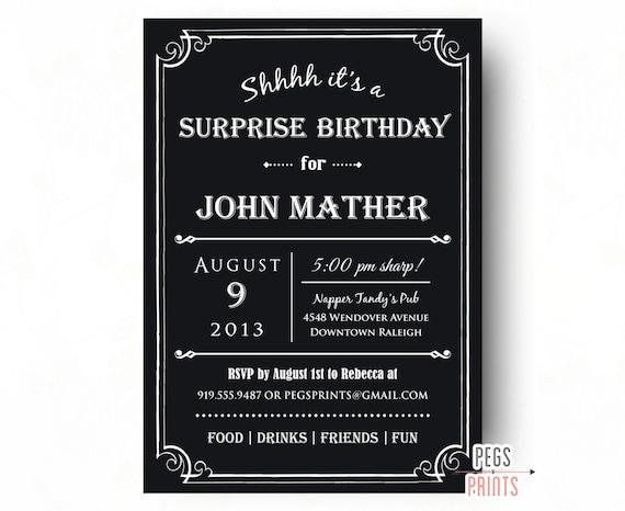 Adult Surprise Birthday Invite Male Invitations