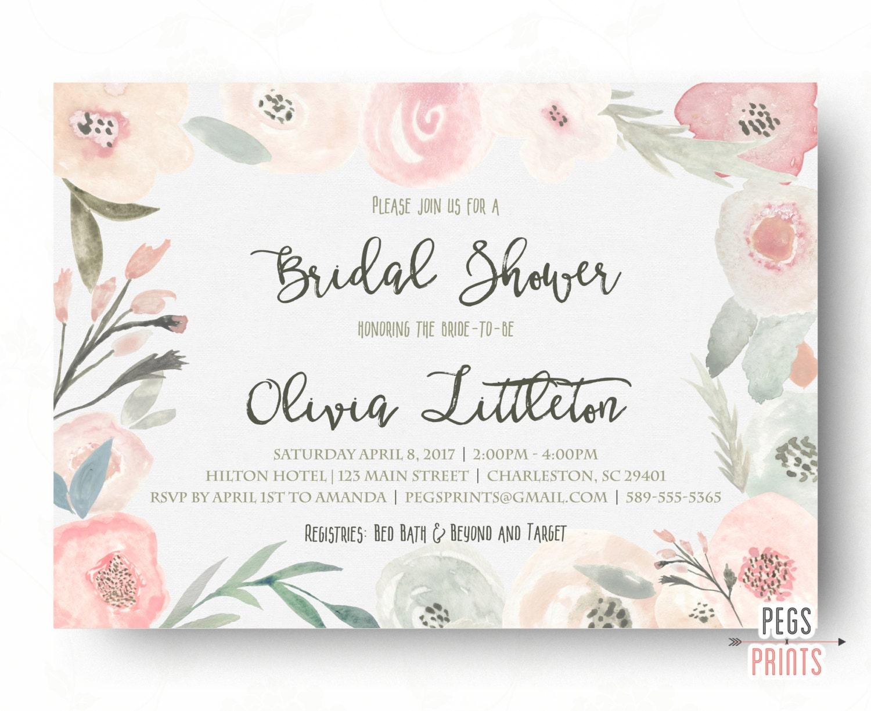 Spring Bridal Shower Invitation Floral Bridal Shower | Etsy