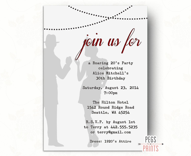 Printable 1920s Invitation // Great Gatsby Birthday Invitation   Etsy