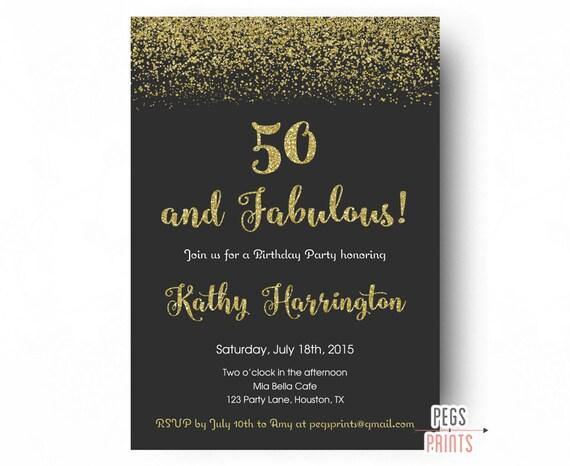 50th Birthday Invitation For Women Invite 50