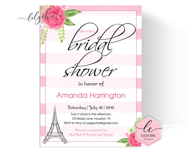 photograph about Bridal Shower Invitations Printable referred to as Paris Bridal Shower Invitation Printable - Paris Topic Bridal Shower Invitations - Watercolor Bridal Shower Invitation - Parisian Bridal Shower