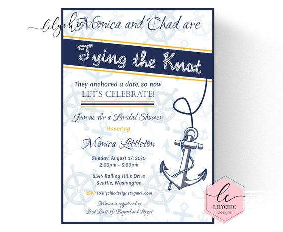 printable nautical bridal shower invitation nautical bridal