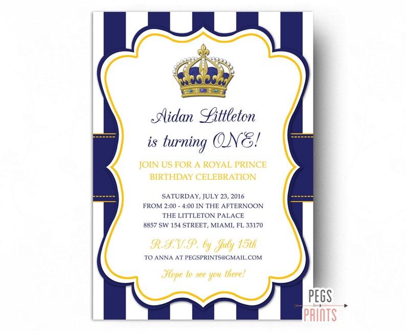 Royal Prince Birthday Invitation Printable Prince Birthday Invites Royal Birthday Invitation First Birthday Invitation Boy Blue