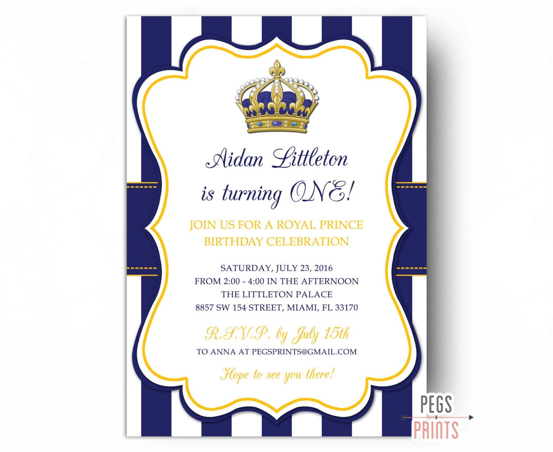 Royal Prince Birthday Invitation Printable