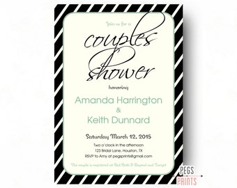 Couples Shower Invitation - Couples Shower Invites - Couples Wedding Shower Invitation - Printable Shower Invitations - Black and Mint Green