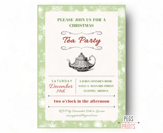 christmas tea party invitation printable holiday tea party etsy