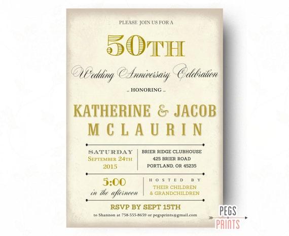 50th Anniversary Invitation 50th Wedding Anniversary Invitations