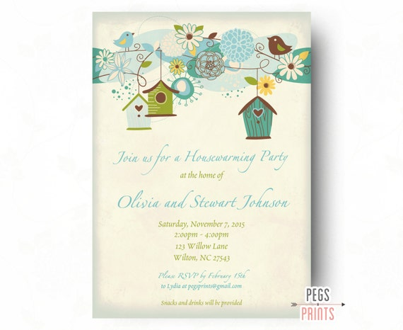 Blue Bird Housewarming Party Invitation Printable Rustic Housewarming Invitation House Warming Party Invitation House Warming Invites