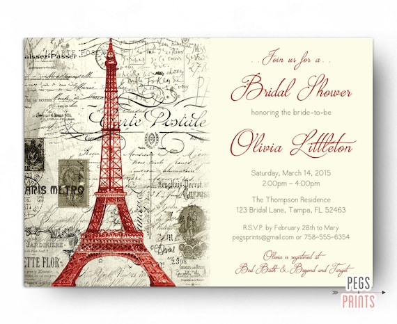Red paris themed bridal shower invitation printable paris etsy image 0 filmwisefo