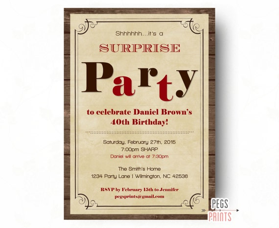 surprise birthday invitations for men surprise birthday etsy