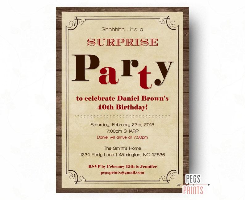 Surprise Birthday Invitations For Men Surprise Birthday Etsy