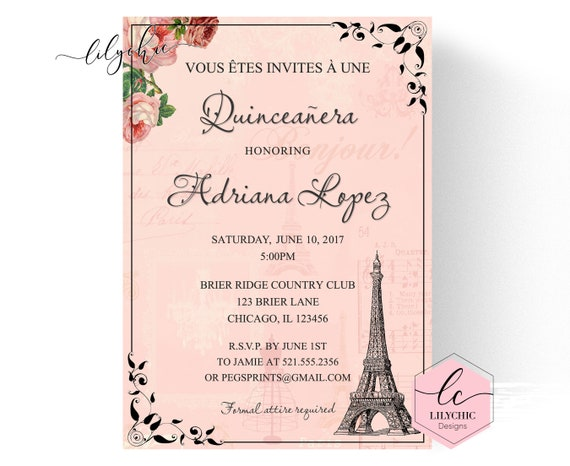 image relating to Printable Quinceanera Invitations titled Paris Quinceanera Invitation - Quinceanera Invitation