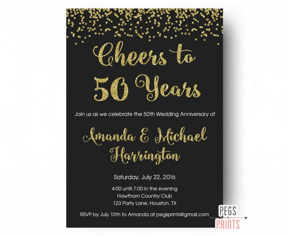 cheers to 50 years invitation 50th anniversary invitation etsy