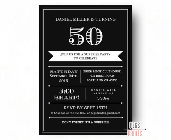 Surprise 50th Birthday Invitation For Men Printable Adult Etsy