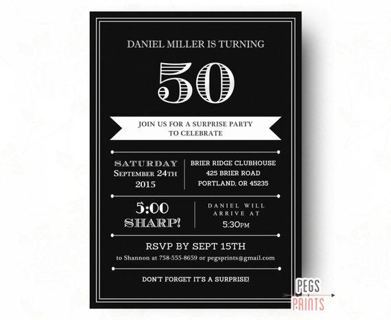 Surprise 50th Birthday Invitation For Men Printable Adult Surprise