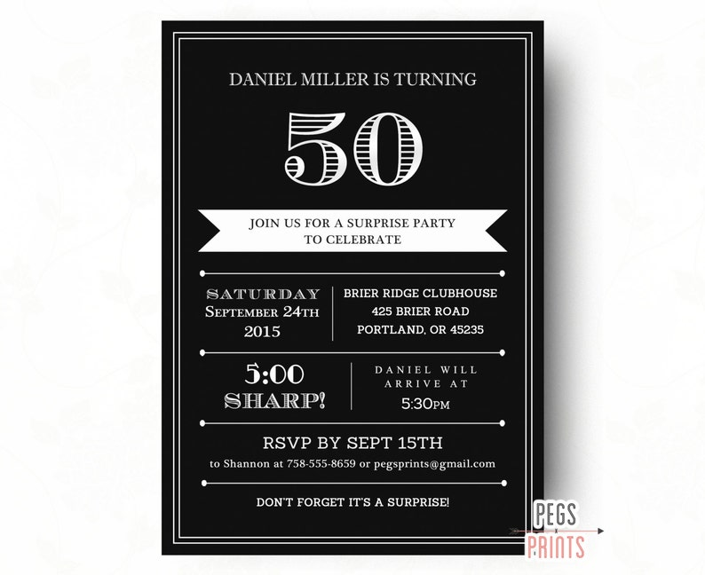 Surprise 50th Birthday Invitation For Men Printable Adult