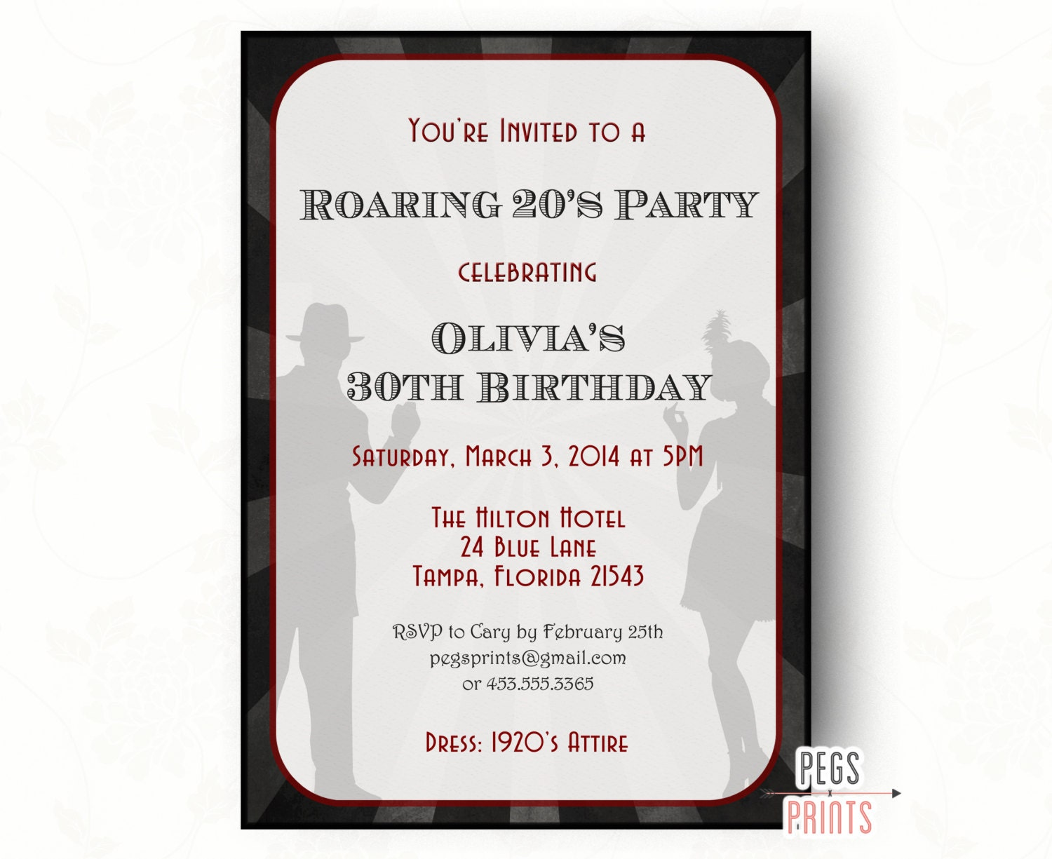 Roaring 20s Invitation // Printable 1920s Birthday Invite // | Etsy