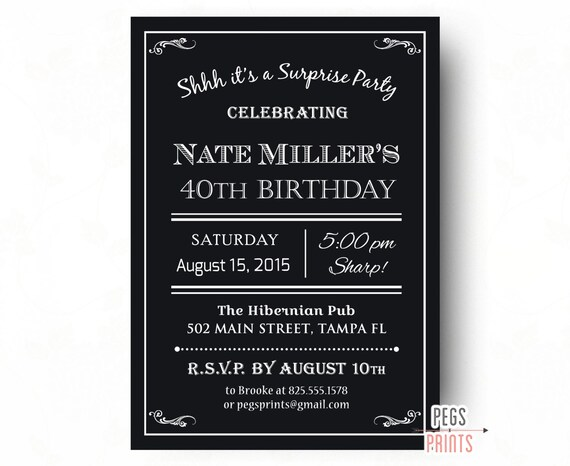 men s 40th surprise birthday invitation milestone etsy