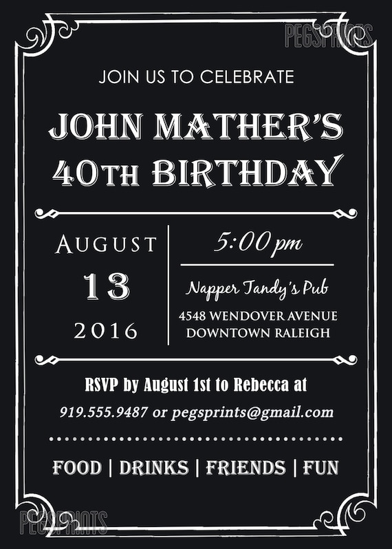 40th Birthday Invitation For Men Printable Milestone