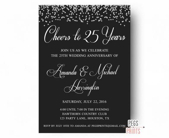 25th Wedding Anniversary Invitations - PRINTABLE 25th Anniversary Invitations - Cheers to 25 Years - Glitter 25 Anniversary Invitations