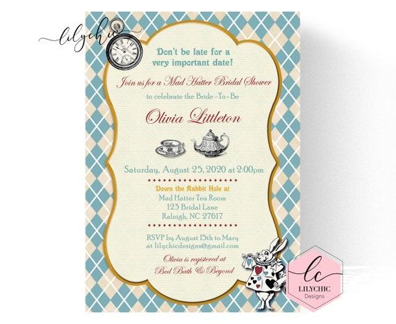 Mad hatter tea party invitation mad hatter bridal shower etsy image 0 filmwisefo