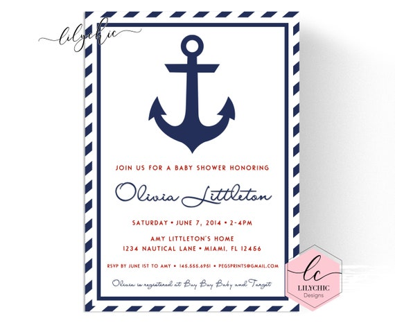 picture regarding Printable Anchor named Nautical Child Shower Invitation Boy - Printable Anchor Youngster