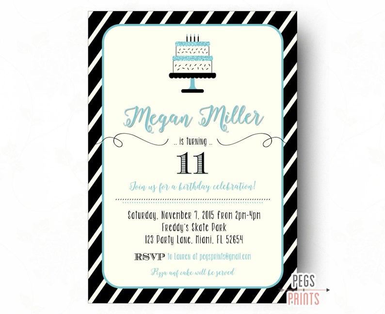 Tween Birthday Invitations Teen Birthday Invitation Etsy