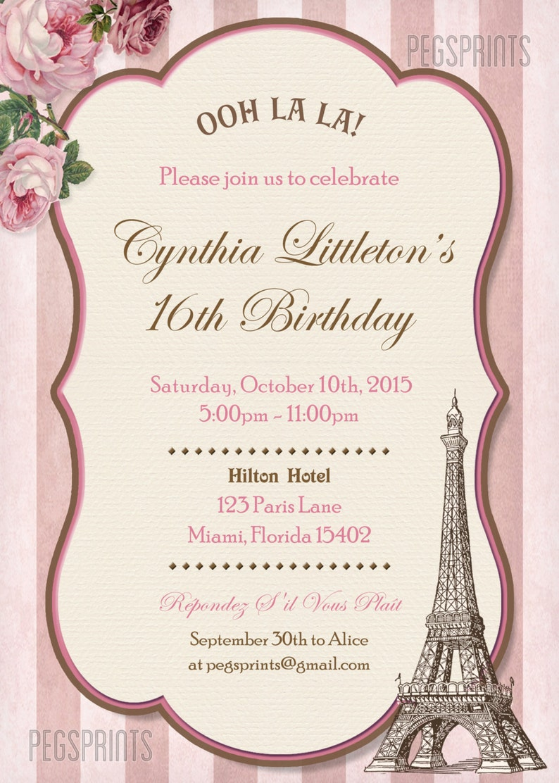 2e0abcbcc11 Paris Sweet 16 Birthday Invitations Printable Sweet Sixteen