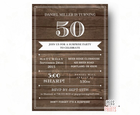 Adult Surprise Birthday Invites For Men Printable Wood Party Invitations