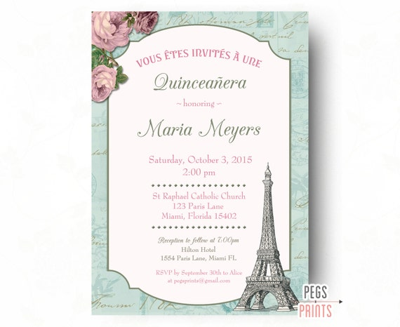 shabby chic quinceanera invitation printable paris quinceanera