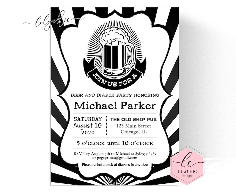 Beer And Diaper Party Invitation Printable Diaper And Beer Party Invitation Diaper And Beer Baby Shower Beer And Diaper Shower Invite