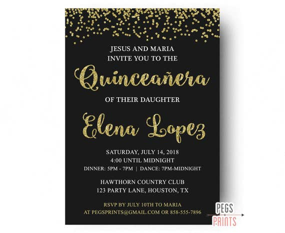 gold glitter quinceanera invitation black and gold quinceanera