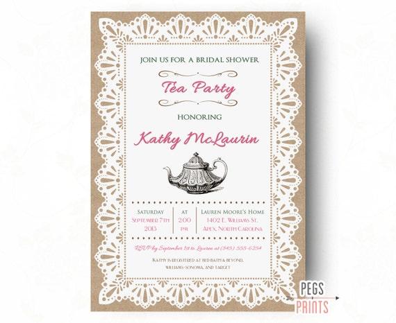 Burlap and lace bridal shower tea party invitation printable etsy image 0 filmwisefo