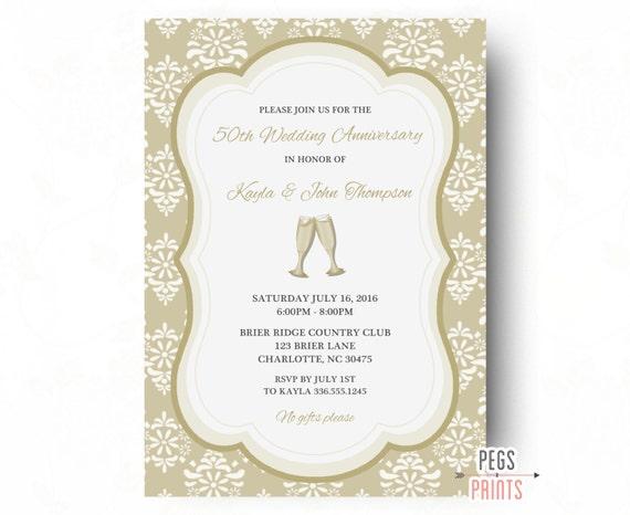 50th Wedding Anniversary Invitations Printable 50th Etsy