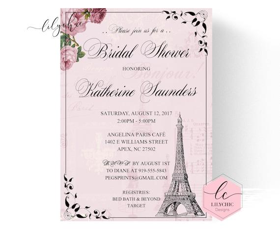Parisian bridal shower invitation paris bridal shower invitation il570xn filmwisefo