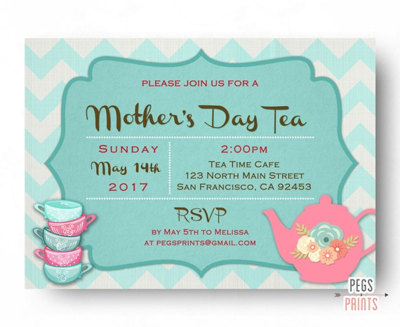Mothers Day Tea Invitation Mothers Day Tea Party Invites Etsy