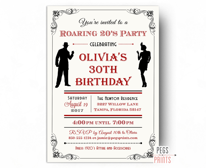 Roaring 20s Invitation Printable 1920s Invitations Roaring