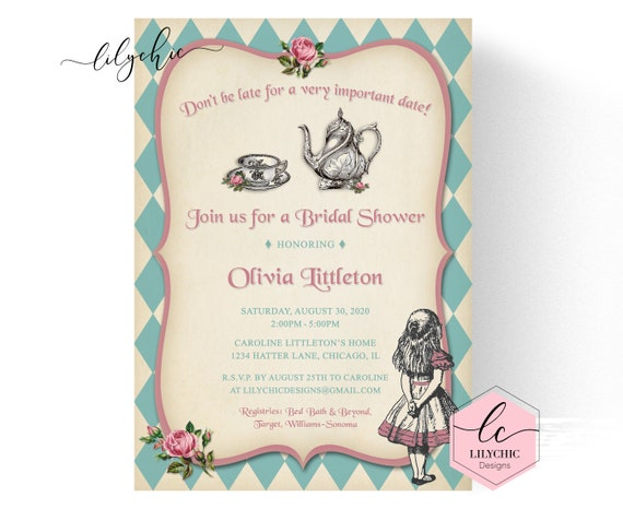 Mad Hatter Bridal Shower Invitation Printable Vintage Mad Hatter Tea Party Invitations Tea Party Bridal Shower Invitation Bridal Tea By Peg S Prints Catch My Party