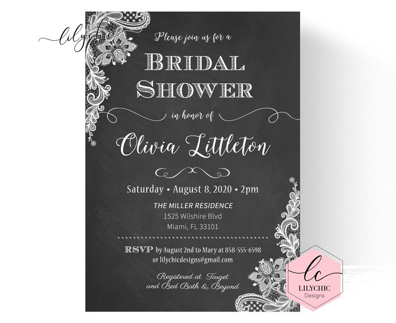 photograph relating to Bridal Shower Invitations Printable named Lace Bridal Shower Invites Printable - Chalkboard Bridal Shower Invitation - Rustic Bridal Shower Invitations - Chalkboard Lace Invite