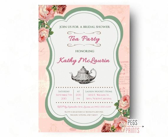 Printable Tea Party Bridal Shower Invitation Shabby Chic Tea Party