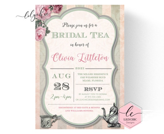 image relating to Printable Tea Party Invitations identified as Bridal Tea Bash Invitation (Printable) Tea Get together Bridal