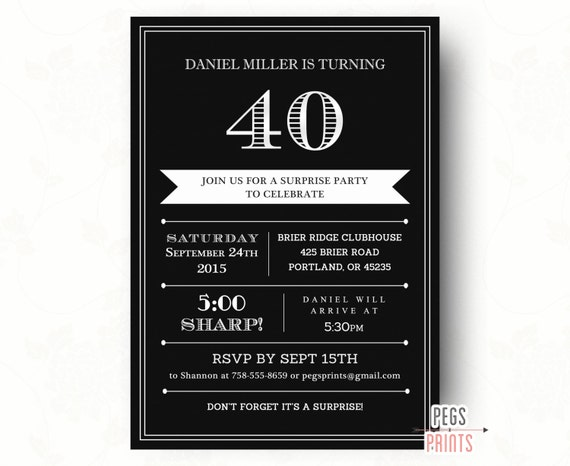 40th Surprise Birthday Invitation For Men Printable Adult Party Invites