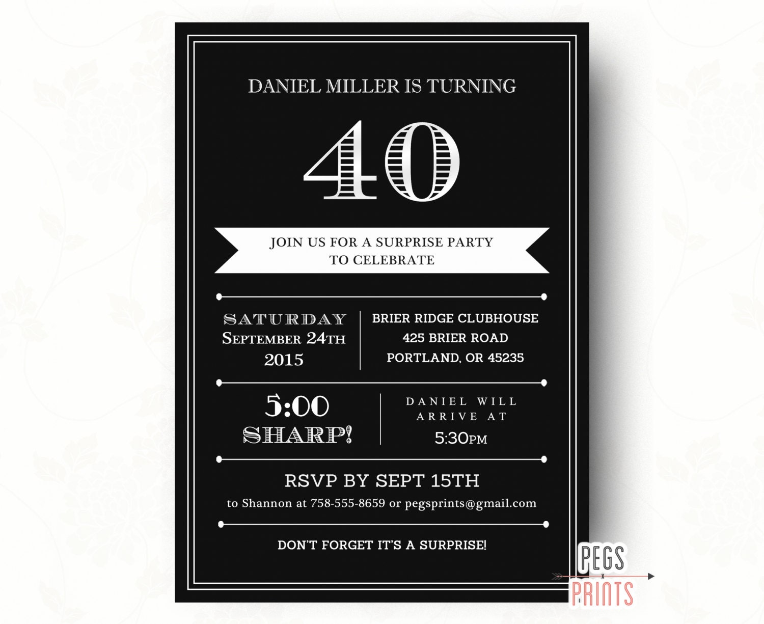 40th Surprise Birthday Invitation For Men Printable Adult Etsy