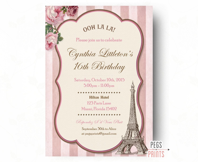 Paris Sweet 16 Birthday Invitations Printable Sixteen