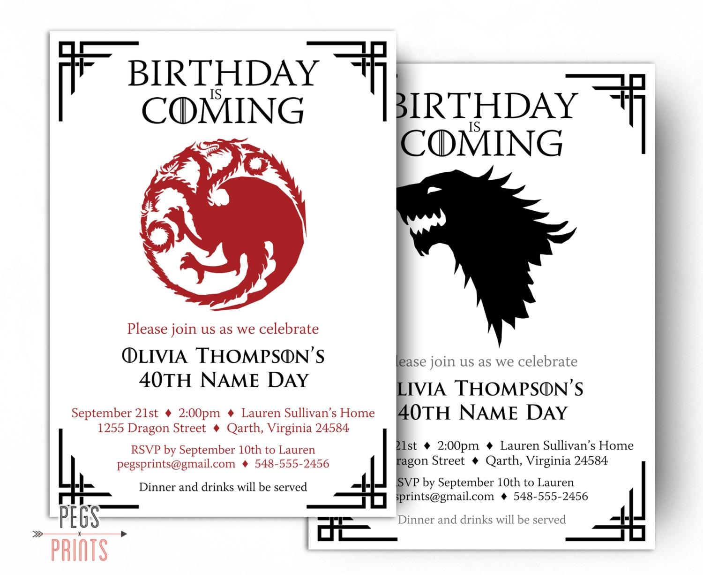 Dragon Birthday Invitation Wolf Birthday Invitation Game   Etsy