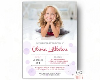 LDS Baptism Invitation Girl - Baptism Invitation Printable - LDS Baptism Invite - Baptism Invitation LDS - Pink and Grey Baptism Invitation