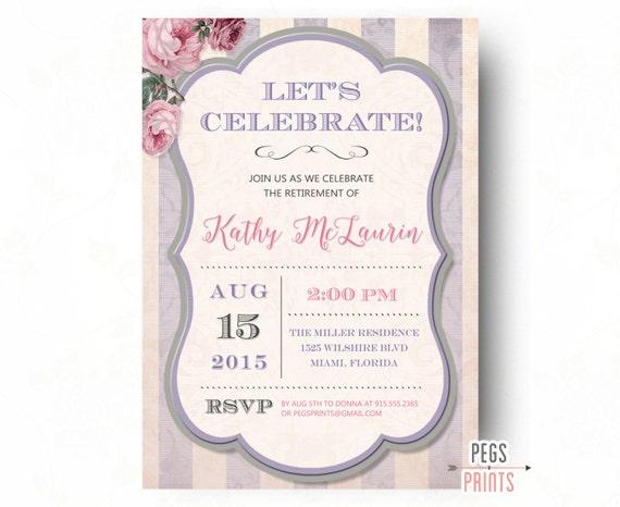 Retirement Party Invitation Shabby Chic Retirement Party Invites