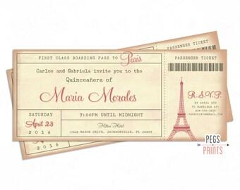 Paris Quinceanera Invitation 3x7 - Paris Quinceanera Invites - Paris Boarding Pass Invite - Parisian Theme Quinceanera - Paris Ticket Invite