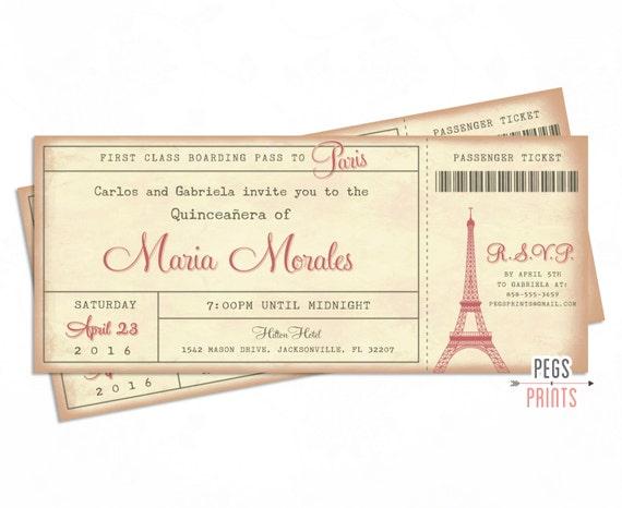 Paris Quinceanera Invitation 3x7 Paris Quinceanera Invites Paris
