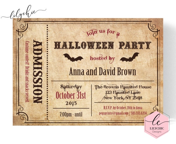 graphic about Halloween Invitation Printable called Ticket Halloween Invitation - Grownup Halloween Invitation